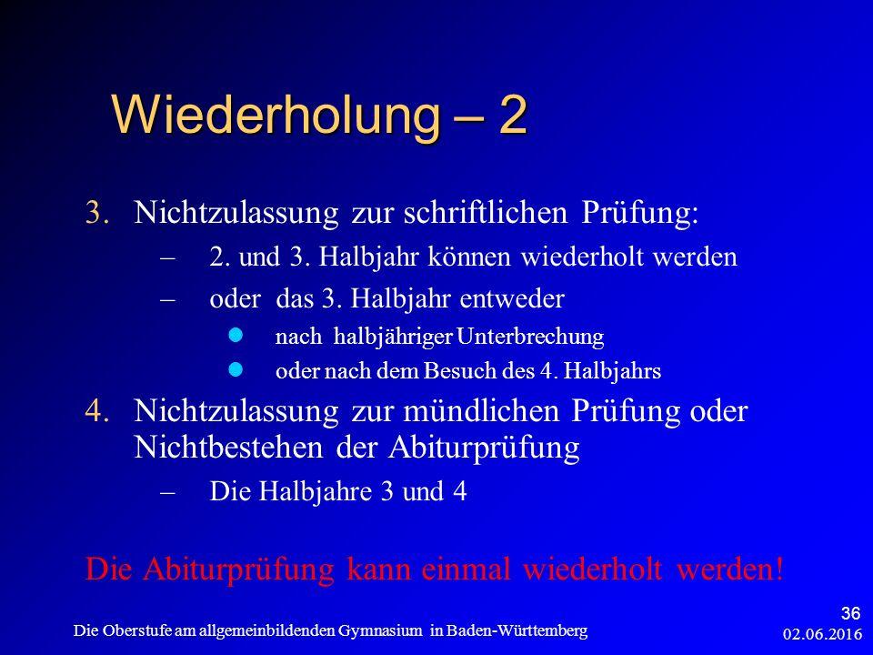 3.Nichtzulassung zur schriftlichen Prüfung: –2. und 3.