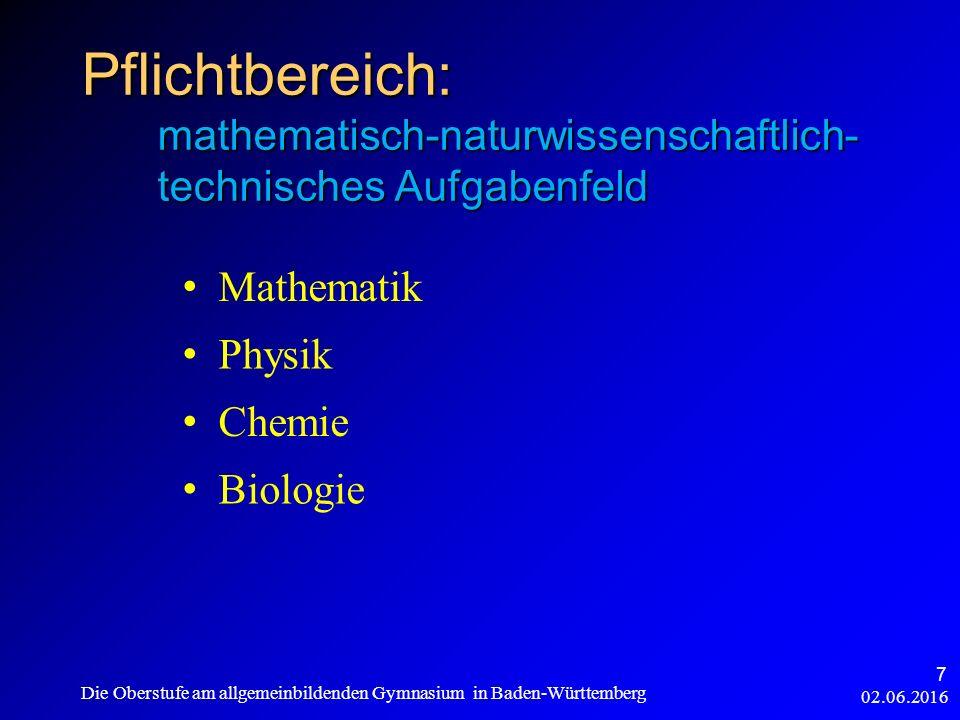 Pflichtbereich: mathematisch-naturwissenschaftlich- technisches Aufgabenfeld Mathematik Physik Chemie Biologie 02.06.2016 Die Oberstufe am allgemeinbildenden Gymnasium in Baden-Württemberg 7