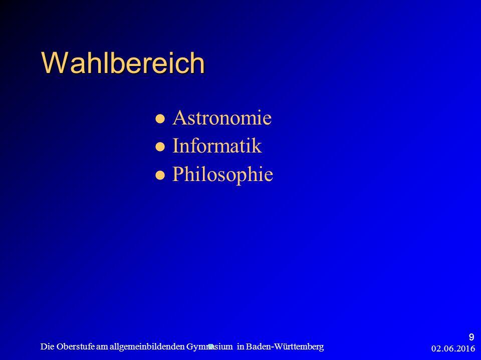02.06.2016 Die Oberstufe am allgemeinbildenden Gymnasium in Baden-Württemberg 9 Wahlbereich Astronomie Informatik Philosophie