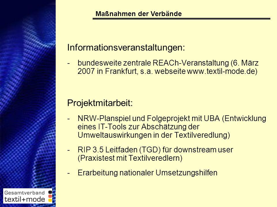 19 Informationsveranstaltungen: -bundesweite zentrale REACh-Veranstaltung (6.