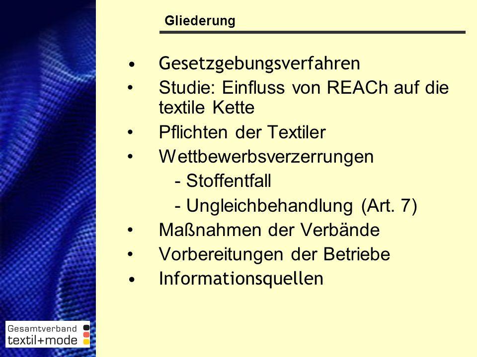 2 Gesetzgebungsverfahren Studie: Einfluss von REACh auf die textile Kette Pflichten der Textiler Wettbewerbsverzerrungen - Stoffentfall - Ungleichbehandlung (Art.