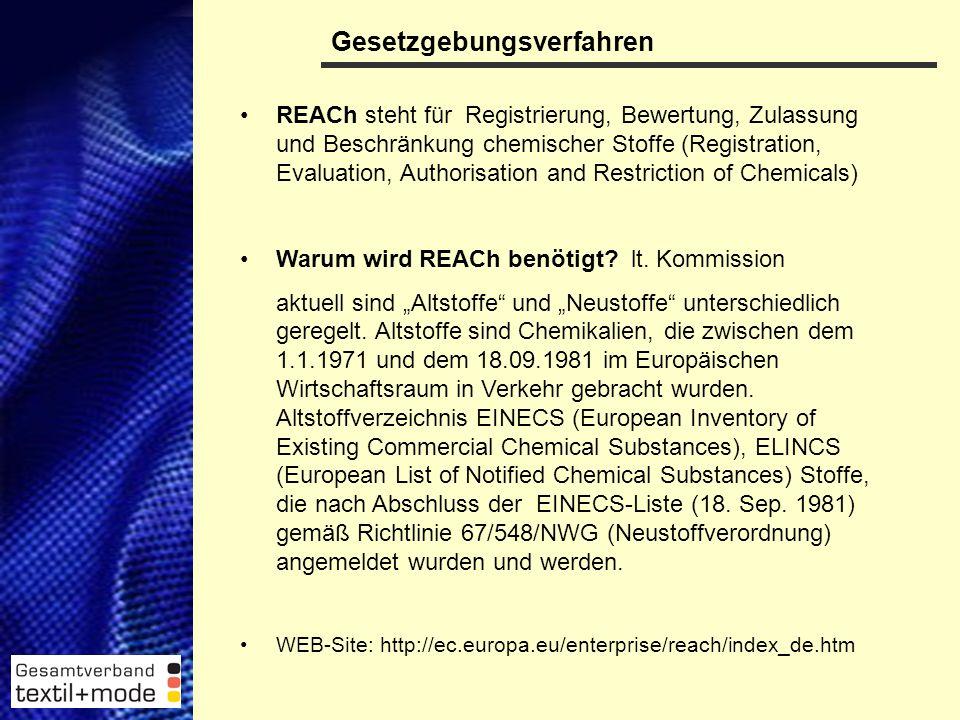 3 Gesetzgebungsverfahren REACh steht für Registrierung, Bewertung, Zulassung und Beschränkung chemischer Stoffe (Registration, Evaluation, Authorisation and Restriction of Chemicals) Warum wird REACh benötigt.