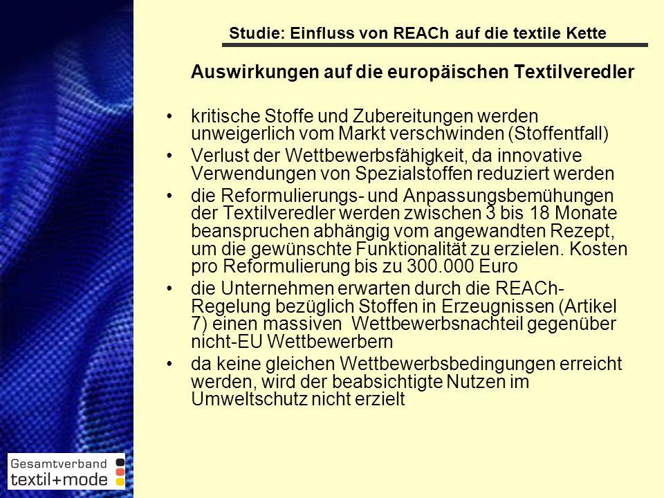 9 Studie: Einfluss von REACh auf die textile Kette Auswirkungen auf die europäischen Textilveredler kritische Stoffe und Zubereitungen werden unweigerlich vom Markt verschwinden (Stoffentfall) Verlust der Wettbewerbsfähigkeit, da innovative Verwendungen von Spezialstoffen reduziert werden die Reformulierungs- und Anpassungsbemühungen der Textilveredler werden zwischen 3 bis 18 Monate beanspruchen abhängig vom angewandten Rezept, um die gewünschte Funktionalität zu erzielen.