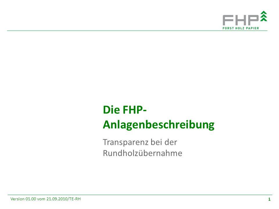 GR/RZ 2007 Version 01.00 vom 21.09.2010/TE-RH 1 Die FHP- Anlagenbeschreibung Transparenz bei der Rundholzübernahme
