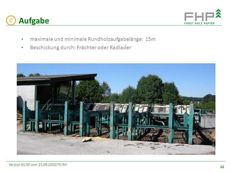 GR/RZ 2007 12 Version 01.00 vom 21.09.2010/TE-RH Aufgabe C maximale und minimale Rundholzaufgabelänge: 15m Beschickung durch: Frächter oder Radlader