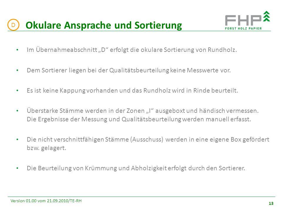 """GR/RZ 2007 13 Version 01.00 vom 21.09.2010/TE-RH Im Übernahmeabschnitt """"D erfolgt die okulare Sortierung von Rundholz."""