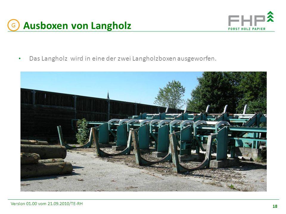 GR/RZ 2007 18 Version 01.00 vom 21.09.2010/TE-RH Das Langholz wird in eine der zwei Langholzboxen ausgeworfen. Ausboxen von Langholz G