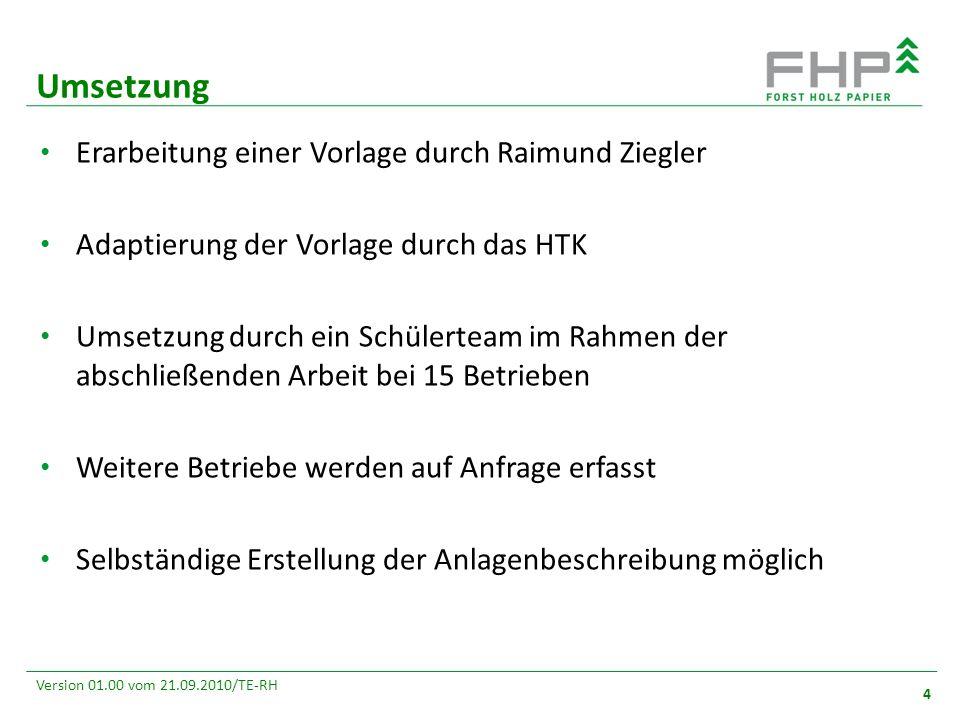GR/RZ 2007 4 Version 01.00 vom 21.09.2010/TE-RH Erarbeitung einer Vorlage durch Raimund Ziegler Adaptierung der Vorlage durch das HTK Umsetzung durch