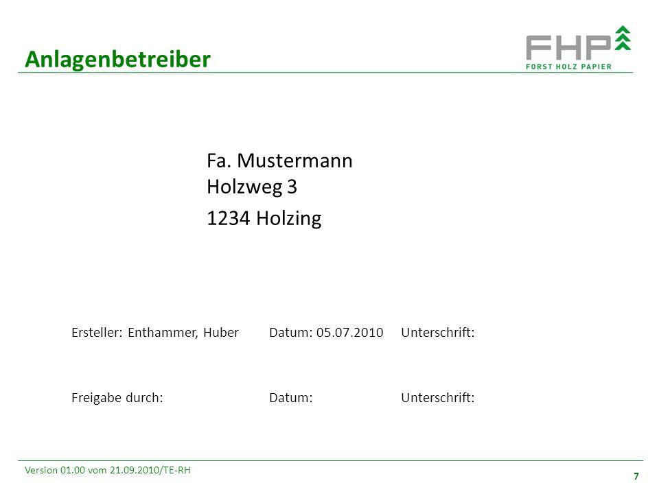 GR/RZ 2007 7 Version 01.00 vom 21.09.2010/TE-RH Anlagenbetreiber 7 Ersteller: Enthammer, HuberDatum: 05.07.2010Unterschrift: Freigabe durch:Datum:Unterschrift: Fa.