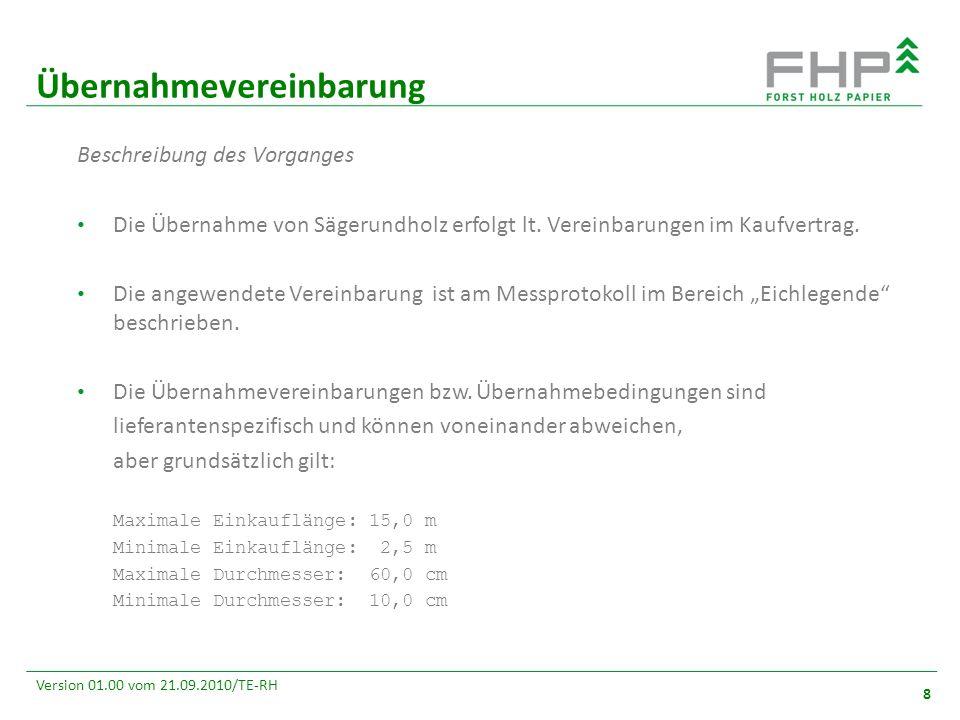 GR/RZ 2007 8 Version 01.00 vom 21.09.2010/TE-RH Übernahmevereinbarung 8 Beschreibung des Vorganges Die Übernahme von Sägerundholz erfolgt lt. Vereinba