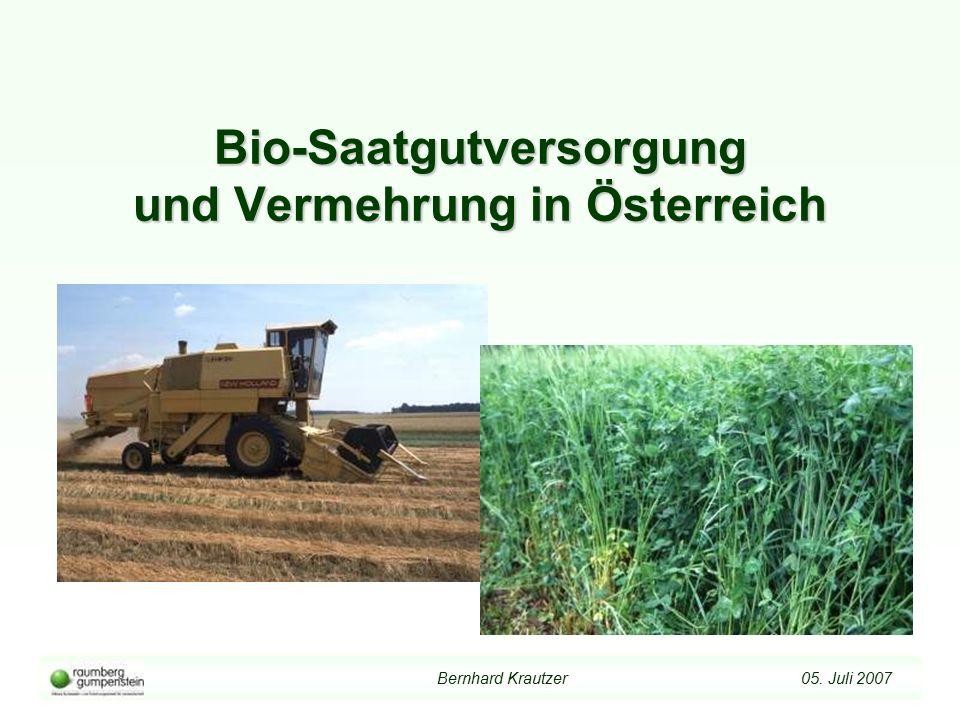 Bernhard Krautzer 05. Juli 2007 Bio-Saatgutversorgung und Vermehrung in Österreich