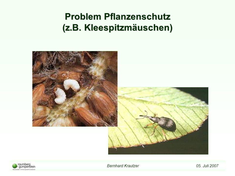 Bernhard Krautzer 05. Juli 2007 Problem Pflanzenschutz (z.B. Kleespitzmäuschen)
