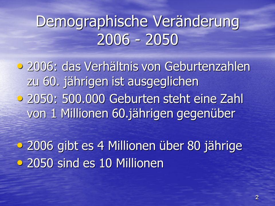 2 Demographische Veränderung 2006 - 2050 2006: das Verhältnis von Geburtenzahlen zu 60.