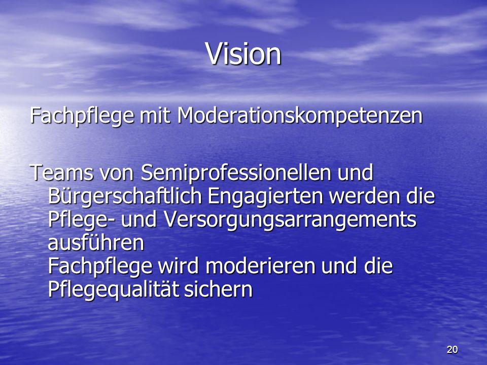 20 Vision Fachpflege mit Moderationskompetenzen Teams von Semiprofessionellen und Bürgerschaftlich Engagierten werden die Pflege- und Versorgungsarrangements ausführen Fachpflege wird moderieren und die Pflegequalität sichern