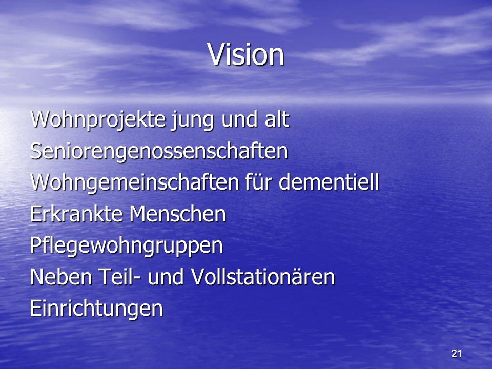 21 Vision Wohnprojekte jung und alt Seniorengenossenschaften Wohngemeinschaften für dementiell Erkrankte Menschen Pflegewohngruppen Neben Teil- und Vollstationären Einrichtungen