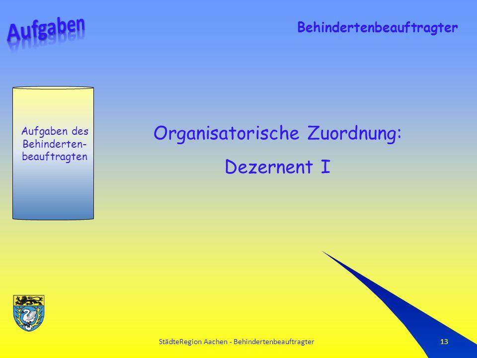 StädteRegion Aachen - Behindertenbeauftragter13 Aufgaben des Behinderten- beauftragten Behindertenbeauftragter Organisatorische Zuordnung: Dezernent I