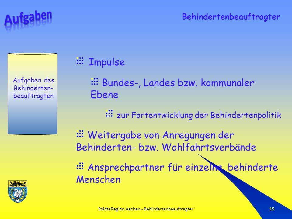StädteRegion Aachen - Behindertenbeauftragter15 Aufgaben des Behinderten- beauftragten Behindertenbeauftragter Impulse Bundes-, Landes bzw.