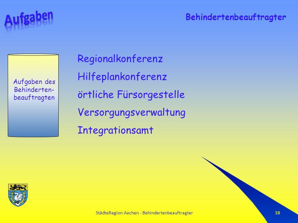 StädteRegion Aachen - Behindertenbeauftragter18 Aufgaben des Behinderten- beauftragten Behindertenbeauftragter Regionalkonferenz Hilfeplankonferenz örtliche Fürsorgestelle Versorgungsverwaltung Integrationsamt