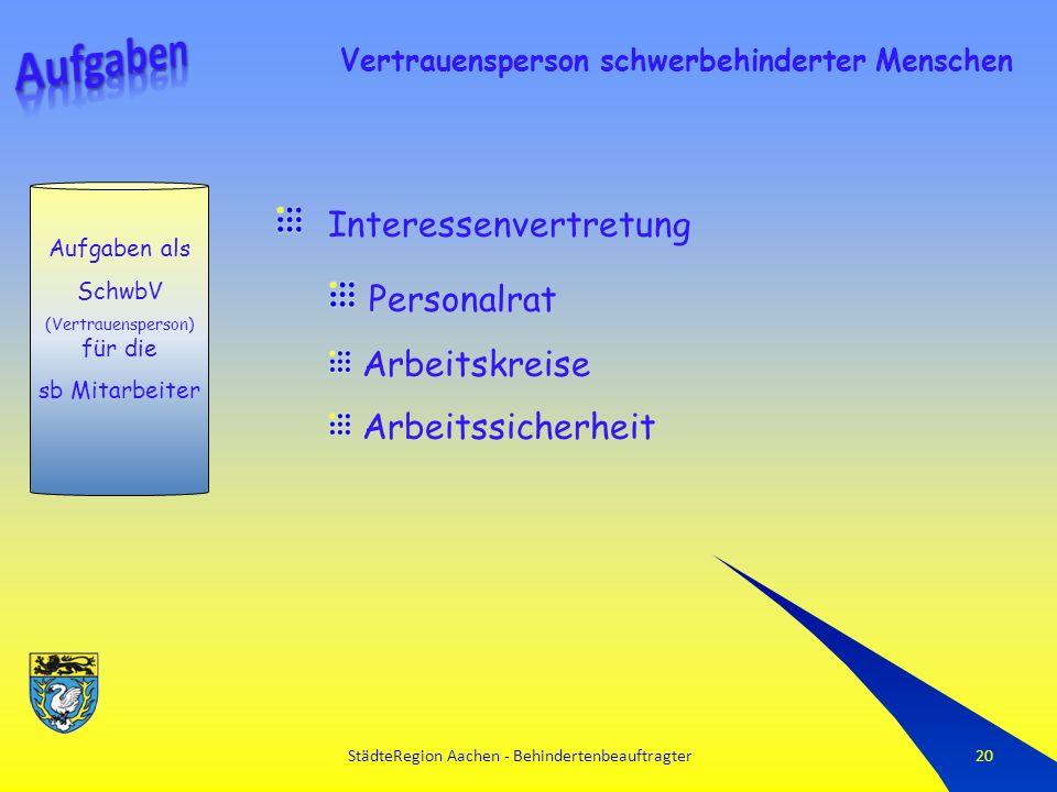 StädteRegion Aachen - Behindertenbeauftragter20 Vertrauensperson schwerbehinderter Menschen Interessenvertretung Personalrat Arbeitskreise Arbeitssicherheit Aufgaben als SchwbV (Vertrauensperson) für die sb Mitarbeiter