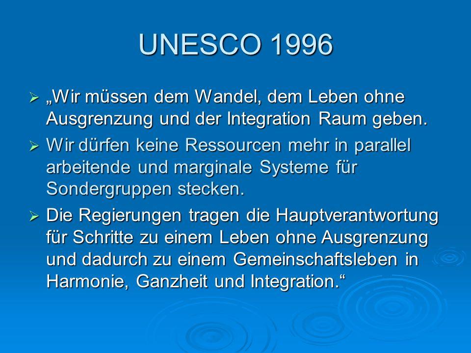 """UNESCO 1996  """"Wir müssen dem Wandel, dem Leben ohne Ausgrenzung und der Integration Raum geben.  Wir dürfen keine Ressourcen mehr in parallel arbeit"""