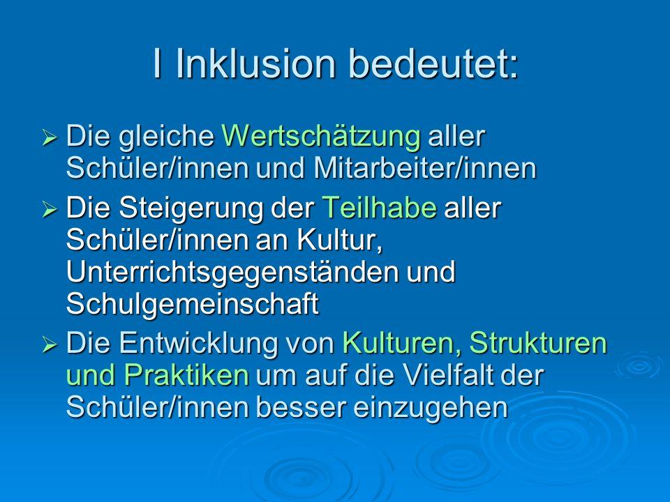 I Inklusion bedeutet:  Die gleiche Wertschätzung aller Schüler/innen und Mitarbeiter/innen  Die Steigerung der Teilhabe aller Schüler/innen an Kultu