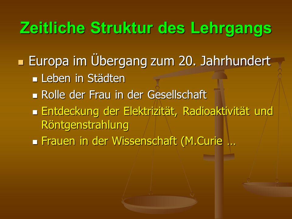 Zeitliche Struktur des Lehrgangs Europa im Übergang zum 20.