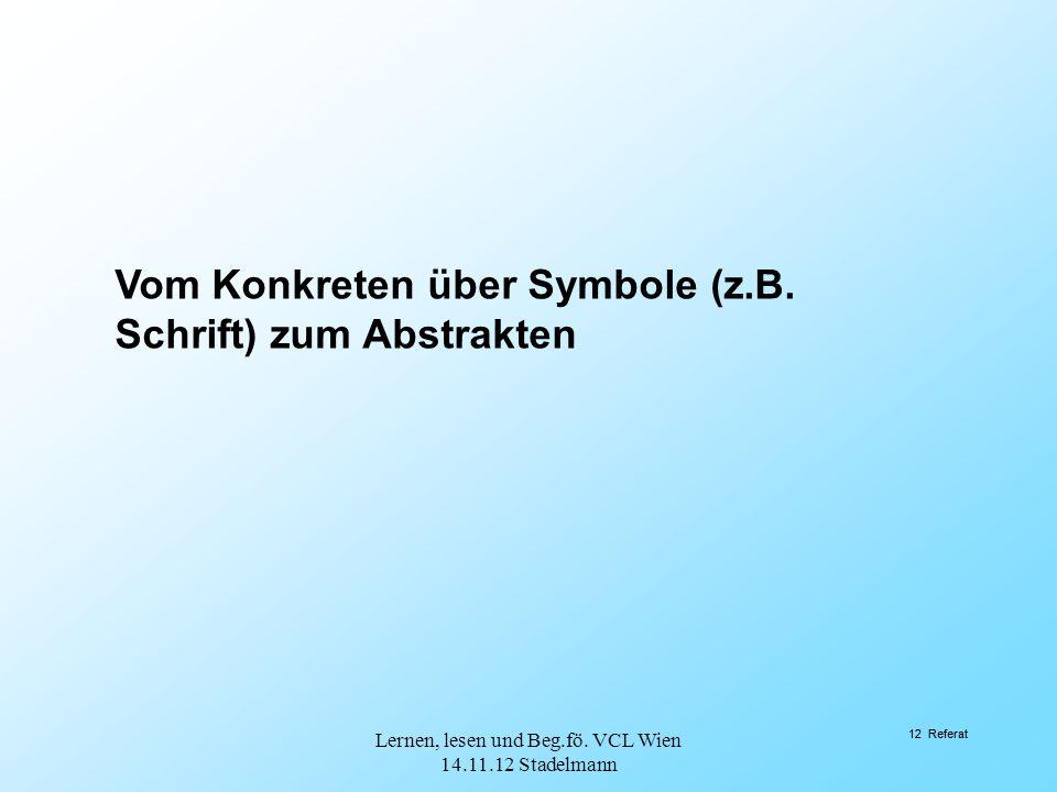 12 Referat Vom Konkreten über Symbole (z.B. Schrift) zum Abstrakten 12 Referat Lernen, lesen und Beg.fö. VCL Wien 14.11.12 Stadelmann