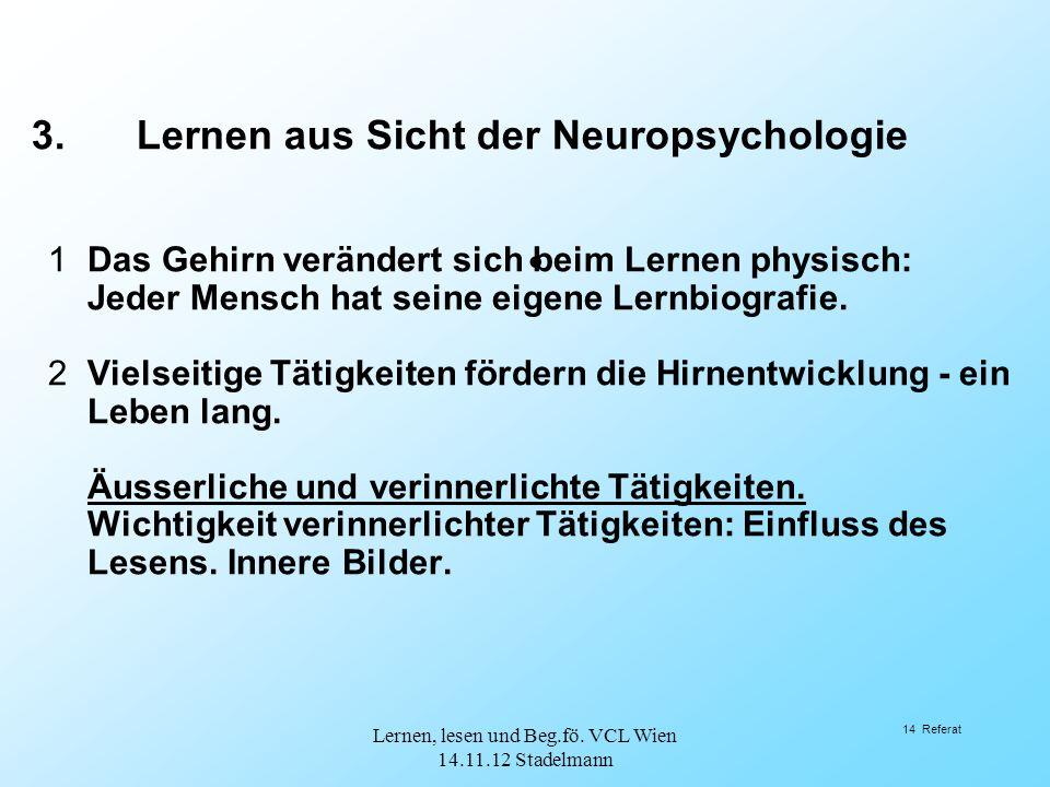 14 Referat 1Das Gehirn verändert sich beim Lernen physisch: Jeder Mensch hat seine eigene Lernbiografie. 2Vielseitige Tätigkeiten fördern die Hirnentw