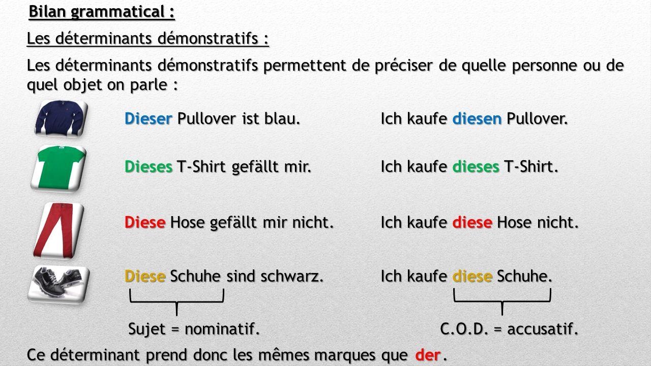 Bilan grammatical : Les déterminants démonstratifs : Les déterminants démonstratifs permettent de préciser de quelle personne ou de quel objet on parle : Dieser Pullover ist blau.
