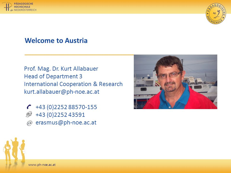 www.ph-noe.ac.at Welcome to Austria Prof. Mag. Dr.