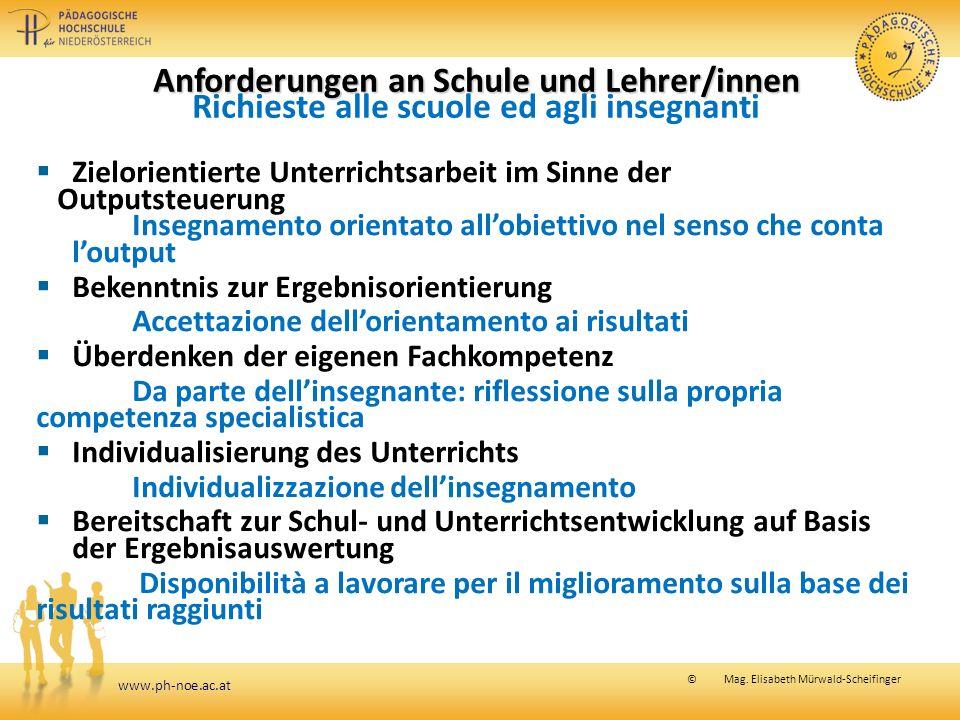 www.ph-noe.ac.at © Mag. Elisabeth Mürwald-Scheifinger Anforderungen an Schule und Lehrer/innen Anforderungen an Schule und Lehrer/innen Richieste alle