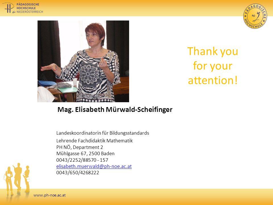 www.ph-noe.ac.at Mag. Elisabeth Mürwald-Scheifinger Landeskoordinatorin für Bildungsstandards Lehrende Fachdidaktik Mathematik PH NÖ, Department 2 Müh