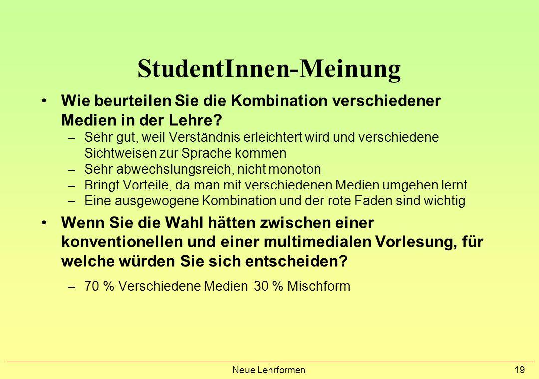 Neue Lehrformen 18 StudentInnen-Meinung 10 % 50 % 40 % (1998) 20% 65 % 14 % (1999) 2 Wurde Ihr Lernen durch den Einsatz neuer Medien gefördert? 60 % J