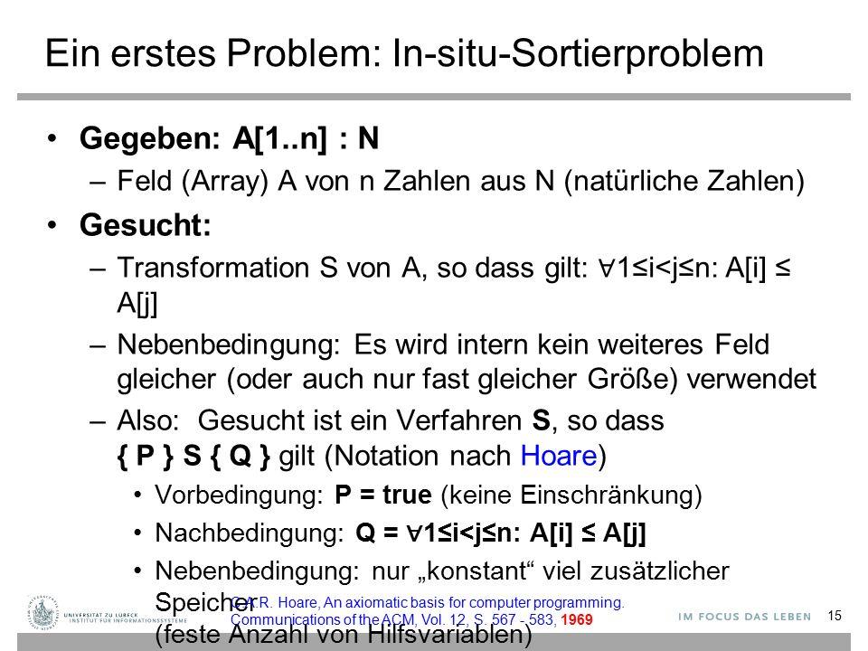 Ein erstes Problem: In-situ-Sortierproblem Gegeben: A[1..n] : N –Feld (Array) A von n Zahlen aus N (natürliche Zahlen) Gesucht: –Transformation S von