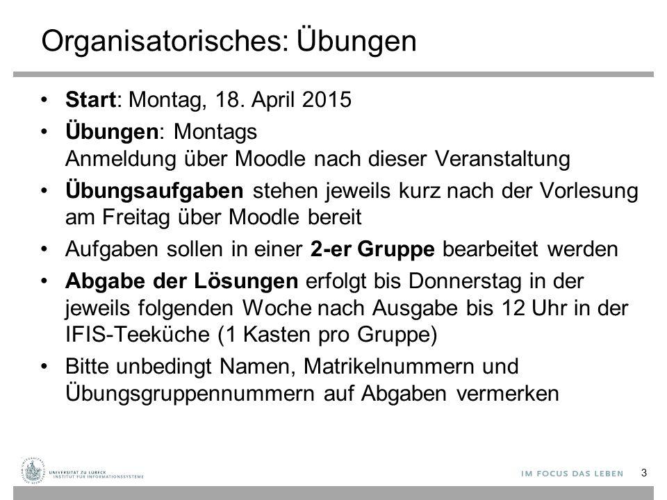 Organisatorisches: Übungen Start: Montag, 18. April 2015 Übungen: Montags Anmeldung über Moodle nach dieser Veranstaltung Übungsaufgaben stehen jeweil