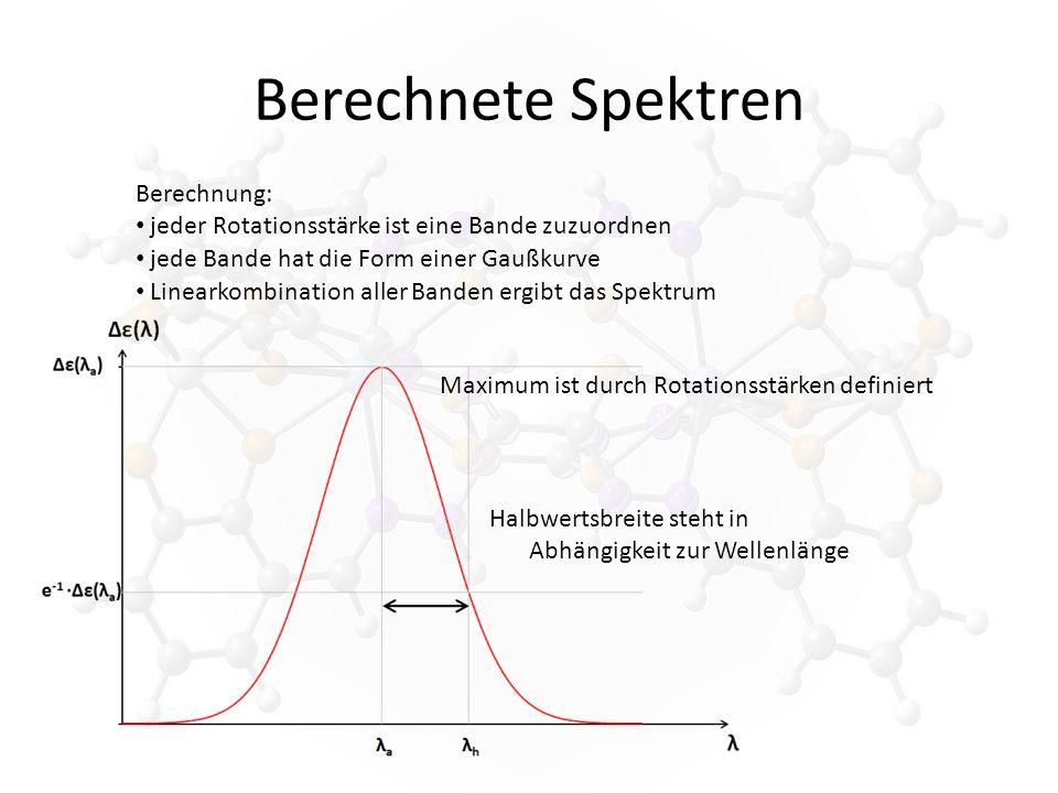 Berechnete Spektren Berechnung: jeder Rotationsstärke ist eine Bande zuzuordnen jede Bande hat die Form einer Gaußkurve Maximum ist durch Rotationsstärken definiert Halbwertsbreite steht in Abhängigkeit zur Wellenlänge Linearkombination aller Banden ergibt das Spektrum