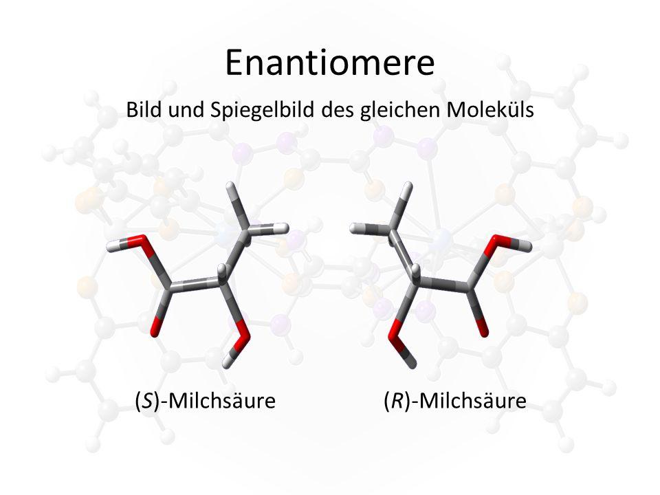 Enantiomere Bild und Spiegelbild des gleichen Moleküls (S)-Milchsäure(R)-Milchsäure