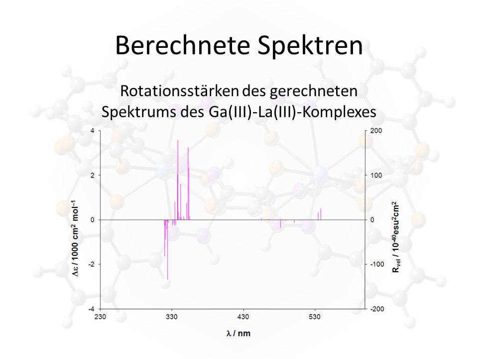 Berechnete Spektren Rotationsstärken des gerechneten Spektrums des Ga(III)-La(III)-Komplexes