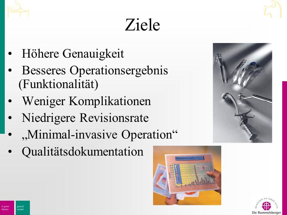 """Ziele Höhere Genauigkeit Besseres Operationsergebnis (Funktionalität) Weniger Komplikationen Niedrigere Revisionsrate """"Minimal-invasive Operation Qualitätsdokumentation"""