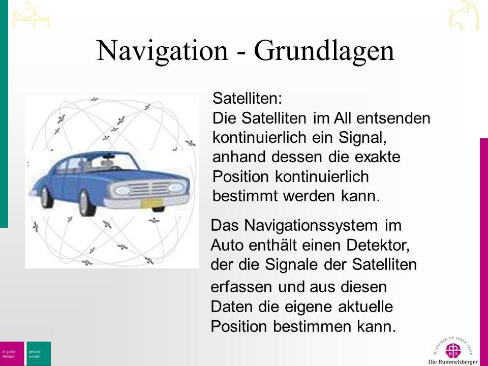 Navigation - Grundlagen Satelliten: Die Satelliten im All entsenden kontinuierlich ein Signal, anhand dessen die exakte Position kontinuierlich bestimmt werden kann.