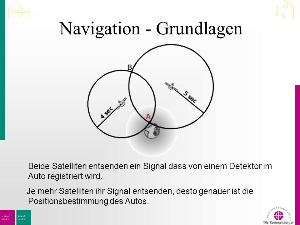 Navigation - Grundlagen Beide Satelliten entsenden ein Signal dass von einem Detektor im Auto registriert wird.
