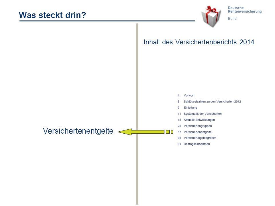 10 Was steckt drin? Versichertenentgelte Inhalt des Versichertenberichts 2014