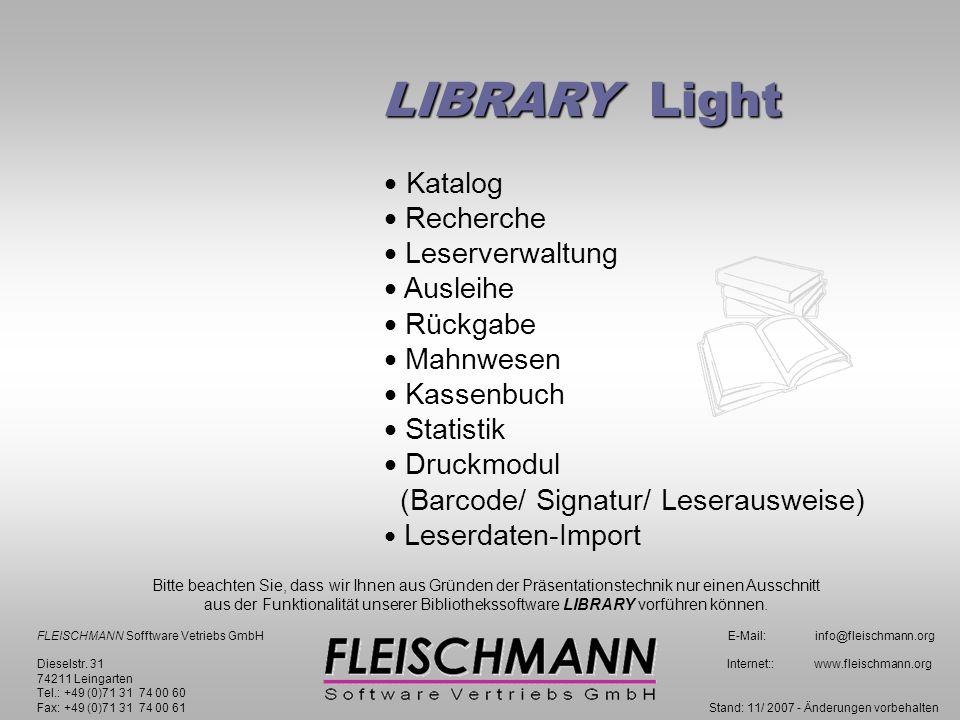 LIBRARY Light Kassenbuch zurück F1 für Hilfe