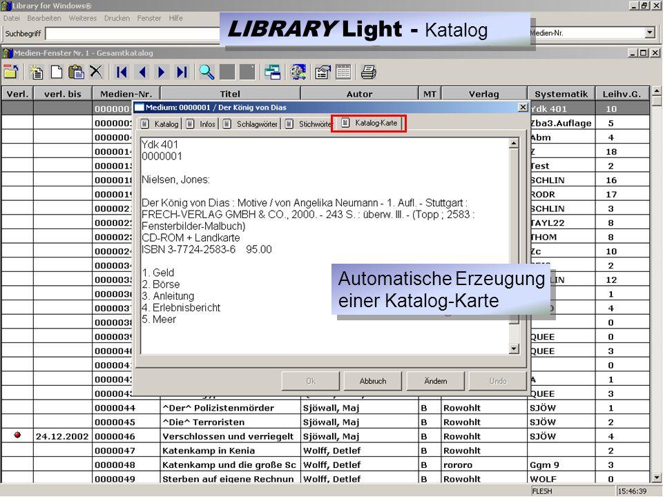 Automatische Erzeugung einer Katalog-Karte