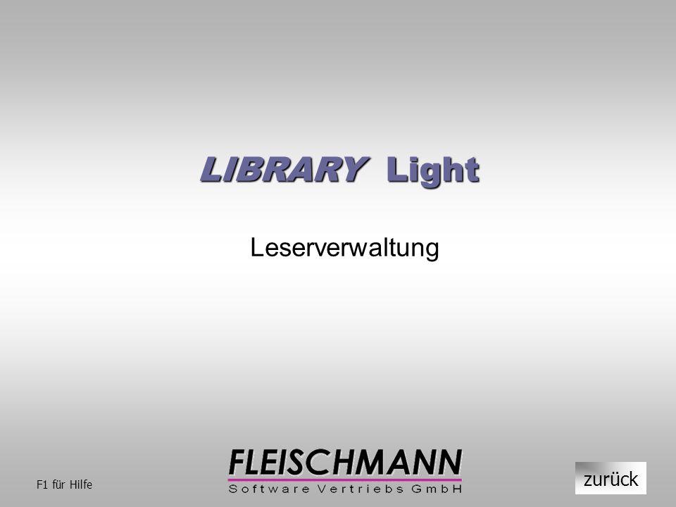 LIBRARY Light Leserverwaltung zurück F1 für Hilfe