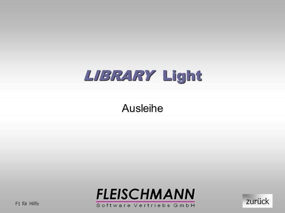 LIBRARY Light Ausleihe zurück F1 für Hilfe