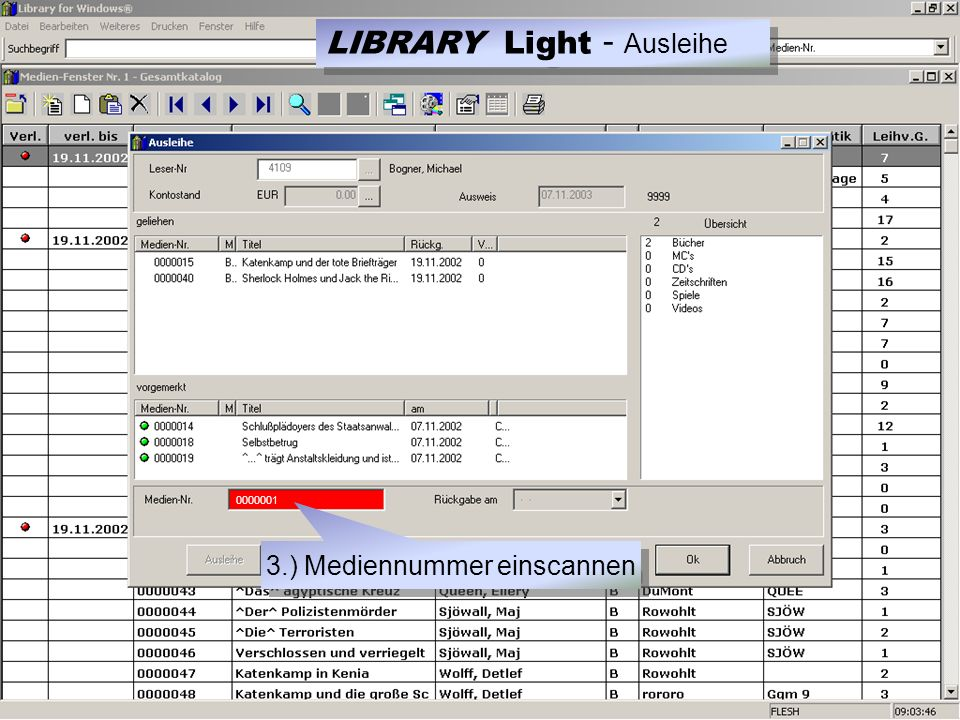 3.) Mediennummer einscannen LIBRARY Light - Ausleihe