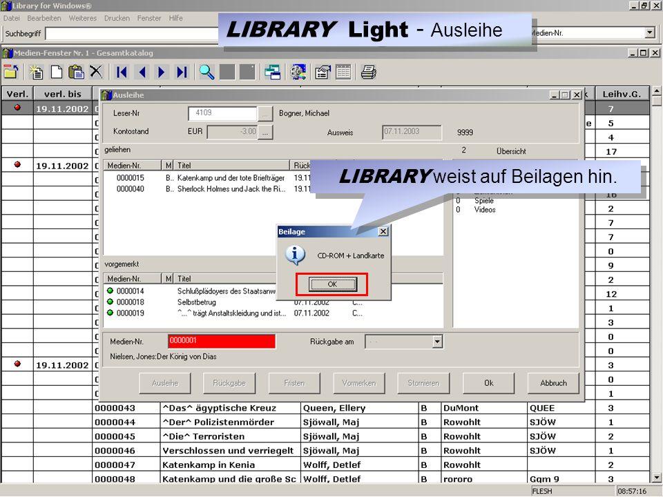 LIBRARY weist auf Beilagen hin. LIBRARY Light - Ausleihe