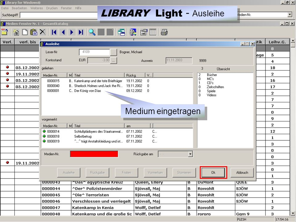 Medium eingetragen LIBRARY Light - Ausleihe