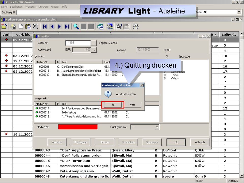 4.) Quittung drucken LIBRARY Light - Ausleihe